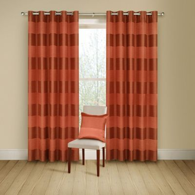 Montgomery terracotta 39 arianna 39 lined curtains with eyelet heading at curtains for Lined valances for living room