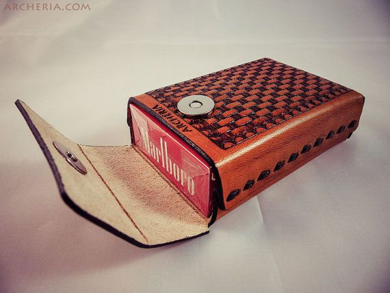 Leather cigarette case basket weave tan by ARCHERIA on Etsy
