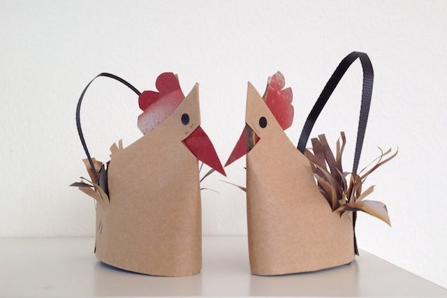 schaeresteipapier: Easter - 2nd craft idea with paper, chicken basket