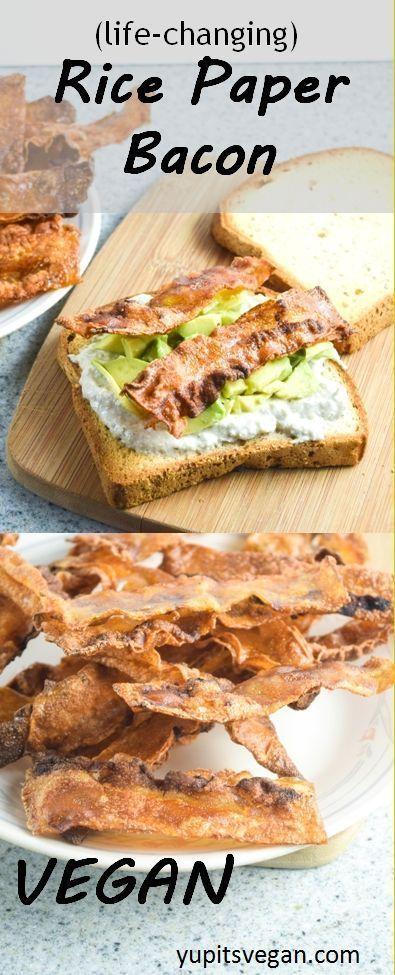 "Vegan Rice Paper Bacon | http://yupitsvegan.com. This amazing crispy, smoky, savory vegan ""bacon"" is made from rice paper! Gluten-free recipe."