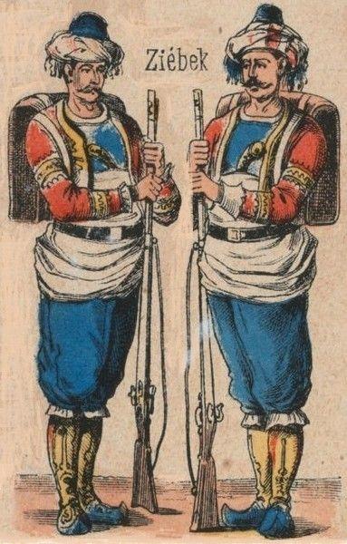 Ottoman Turkish Uniforms WW1 History First World War Militaria Turkey Wargaming Military Insignia Uniform Crimea Crimean - Akinci Corps & Deli Cavalry (Janissary Period); 1860 Imperial Army Corps of Bashi-Bazouk