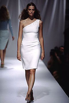 Elspeth Gibson | Spring 2000 Ready-to-Wear | 32 White embellished one shoulder midi dress