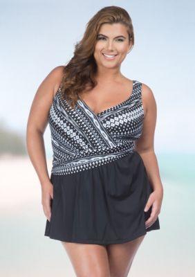 Maxine  Shangri La Ikat Asymmetrical Swimdress