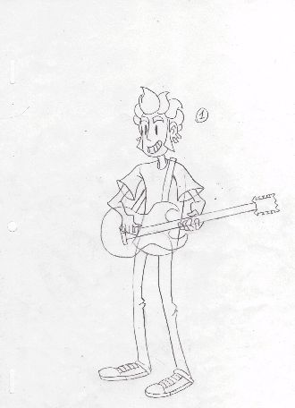 Isn't it cute, at least?  Here's my first attempt in traditional animation!  A guy who knows how to rock is my favorite kind of character