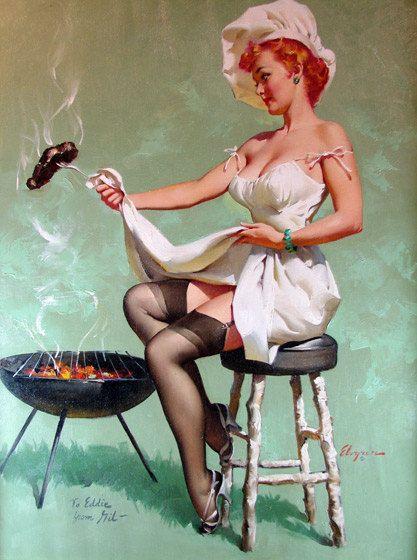"Free US shipping Handprinted Cotton Art Reprodn Applique Vintage Sexy Pin-up Girl Gil Elvgren ""A lot of steak"" , 1955. $9.00, via Etsy."