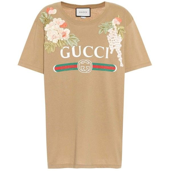 dc1f9f15f Gucci Embroidered Cotton T-Shirt ($875) ❤ liked on Polyvore featuring tops,  t-shirts, brown, short-sleeved, cotton embroidered tops, gucci top, ...