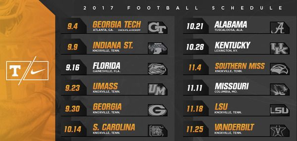 2017 Tennessee football schedule