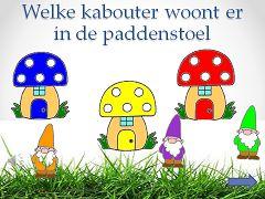 De kinderen kiezen dezelfde kleur kabouter bij de gekleurde paddenstoel. Kijk op digibordpeuters.jouwweb.nl  Thema's/Puk en Ko/ reuzen en kabouters