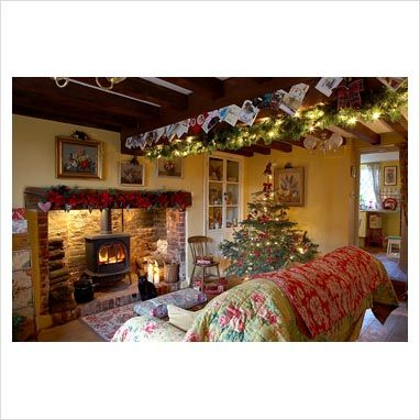 GAP Interiors - Country living room at Christmas - Picture library specialising in Interiors, Lifestyle & Homes