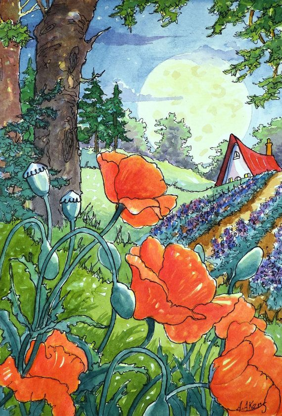 Lavender in the Garden, Poppies on the Hill Print from original Watercolor Storybook Cottage painting 8 by 5.5 inches