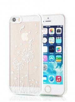Priehľadný plastový kryt pre iPhone 4/4S - strieborný s motívom púpavy