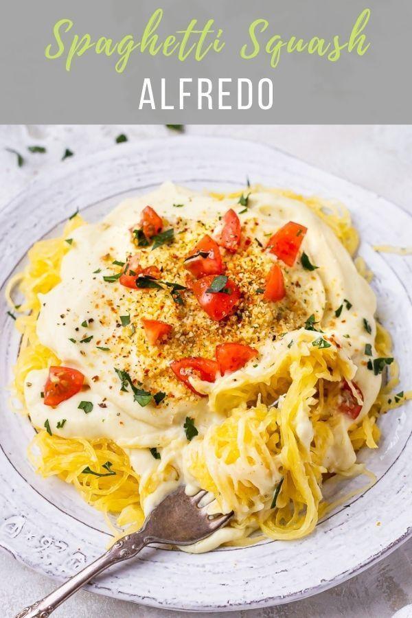 Spaghetti Squash Alfredo Vegan Gluten Free Le Petit Eats In 2020 Spaghetti Squash Alfredo Healthy Recipes Main Course Recipes