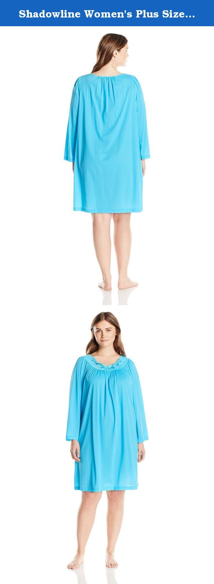 Shadowline Women's Plus Size Petals 40 Long Sleeve Waltz Gown, Turquoise, 3X. New from shadow line, the petals waltz gown with long sleeve features a soft embroidered neckline in our signature petals design. Gentle gathers falling from the front and back yoke give a feminine touch with a comfortable fit. Shadowline 100 percent opacitrique use-made nylon tricot fabric ensures maximum opaqueness with exceptional comfort. Our petals collection is the hallmark of shadow line commitment to…