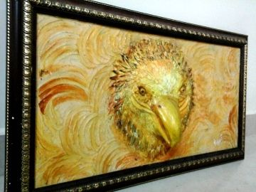 "Size- 27"" X 15"" Description – Entire clay work handmade piece with beak embossed ,comes along with framing.The base is a solid wood with hand crafted paper mache work.A perfect and unique wall hanging to decorate home,office,hotel room,etc... Feautures: *3D *eco friendly *lively appearance *long lasting shine *cost effective"