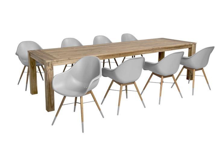 Lichtgrijze moderne tuinset tafel en stoelen ook los verkrijgbaar witte kuipstoelen - Oude tafel en moderne stoelen ...