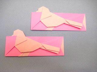 ハトの箸袋折り紙 創作/山田勝久  おりがみ1枚折り  折り紙ハトの箸袋の折り方作り方 創作 Chopsticks bag origami dove 【創作折り紙の折り方・・・】