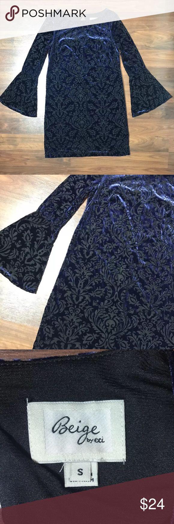 """Violet Velvet Filigree Victorian Bell Sleeve Dress Beige by ECI Violet Purple Velvet Filigree Victorian Print Bell Sleeve Boat Neck Shift Dress S  Measurements: 36"""" Bust 34"""" Length ECI Dresses"""