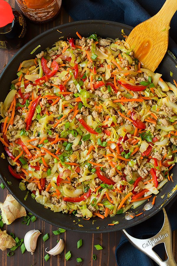 Egg Roll Skillet (AKA Turkey and Cabbage Stir Fry) - Cooking Classy (more stock and cornstarch add oyster sauce and chili garlic sauce instead of sriracha )