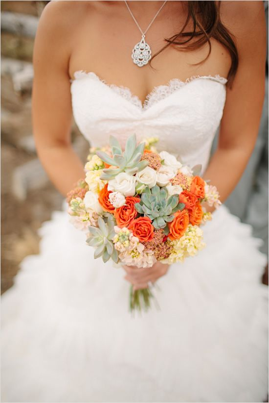 succulent and rose bouquet - like the dress and necklace too