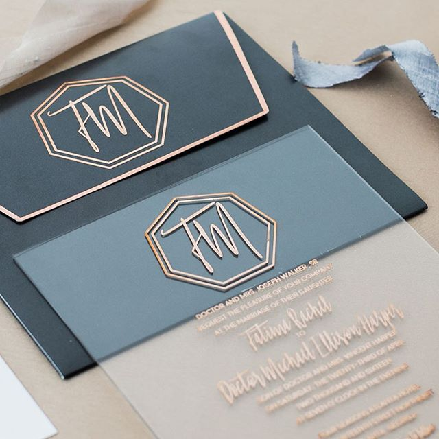 Acrylic with rose gold metal press invitation. Masculine meets feminine.
