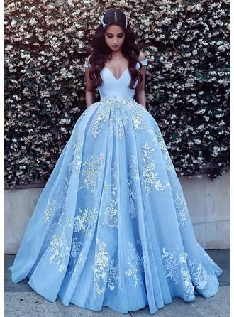 061b6123 Ball-Gown Off-the-Shoulder Sweep Train Prom Dresses With Appliques Lace