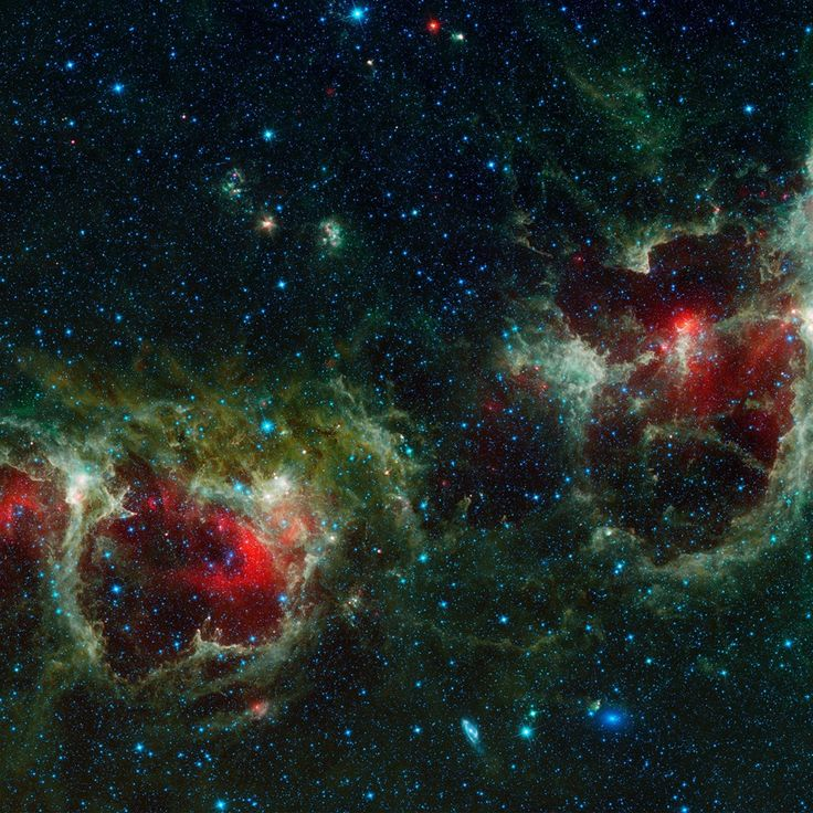 Located about 6,000 light-years from Earth, the Heart and Soul nebulae form a vast star-forming complex that makes up part of the Perseus spiral arm of our Milky Way galaxy. - Image credit: NASA/JPL-Caltech/UCLA