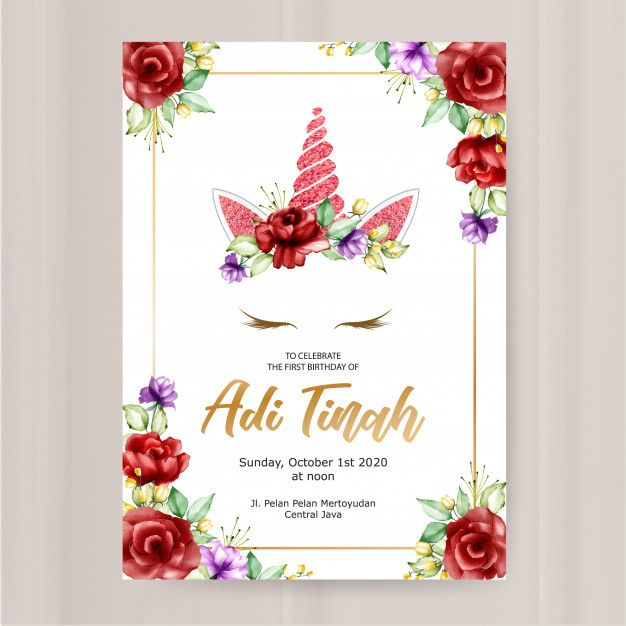 Birthday Invitation Card Template Cute Unicorn Graphic With Flower Wreath Unicorn Invitations Birthday Invitation Card Template Flower Wreath