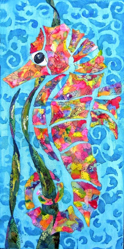 """Calypso, the seahorse, is probably the easiest one to see (the gelli prints). Much of the body is gelli and some in the weeds."" - Wanda Edwards Torn Paper Paintings"