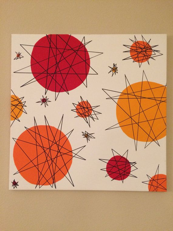 Mid Century Modern Wall Art Atomic 1950s By LobsterLadyCreations