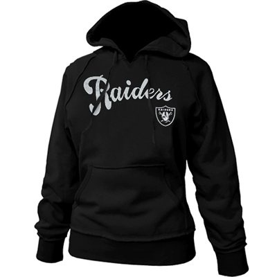 Oakland Raiders Ladies Black Takeaway Raw Edge Pullover Hoodie Sweatshirt #Fanatics #Pinforpresents