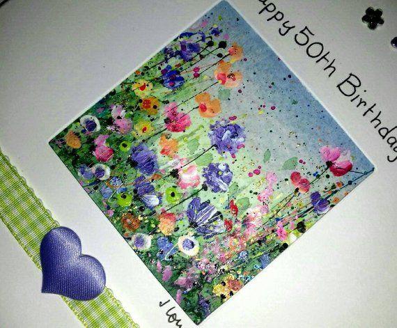 50th Birthday Card Mum Original Hand Painted Card Floral Etsy Hand Painted Card 50th Birthday Cards Watercolor Birthday Cards