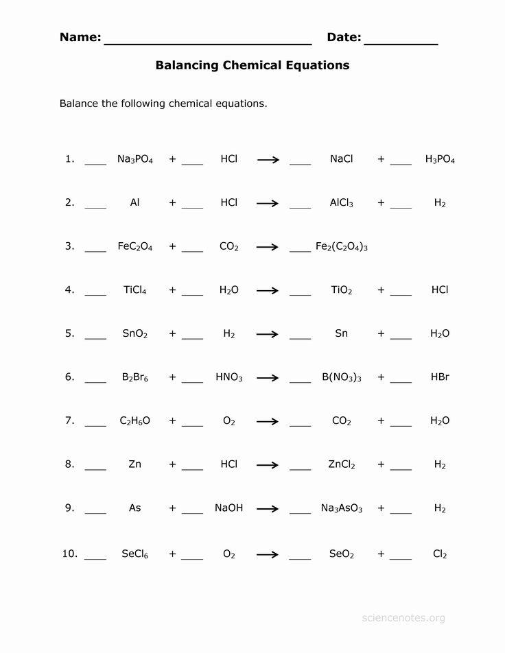 Balancing Chemical Equation Worksheet Lovely Balance ...