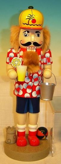 Beach Guy in Sand Wearing Floral Shirt Wooden Christmas Nutcracker 14 Inch