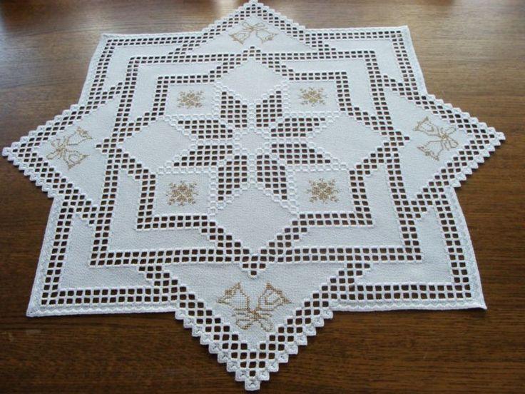 Hardanger Bordado-Grandes DOILY-Uma Estrela Em Uma Estrela-Para O Natal-Feito À Mão