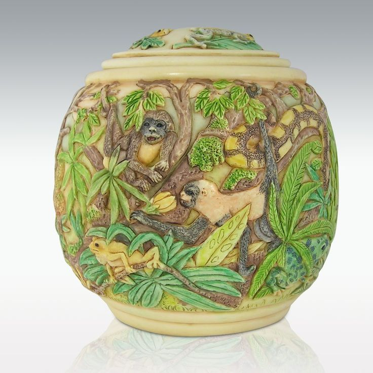 Tropical Animals Urn - Monkeys, Frogs & Exotic Animals