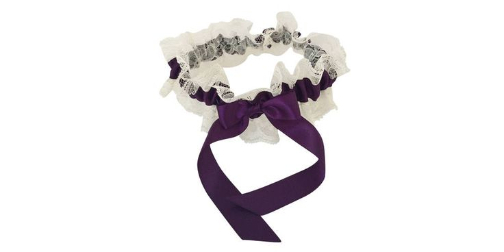 Plum Purple and Ivory Lace Wedding Garter, Bridal Garter, Prom Garter, Garter Belt, Lace Garter, Plus Size Garter