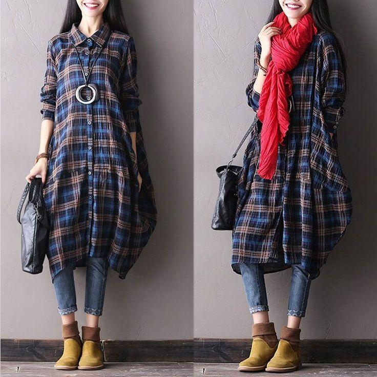 Women autumn long sleeve blue cotton loose shirt  dress