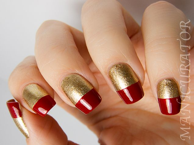 Wide Tips Nail Art  The Manicurator painted bold cherry red tips atop glittery gold. So chic for a holiday party!