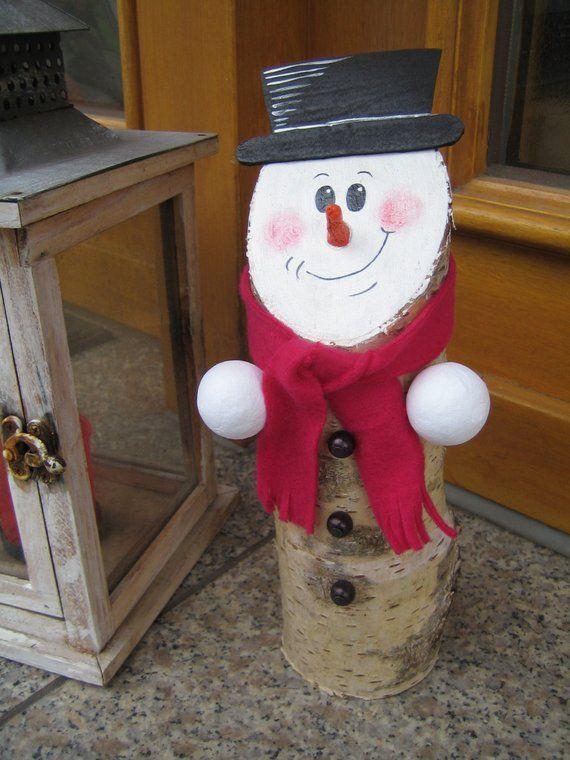 Boneco de neve, Log, vidoeiro, inverno, decoração, presente   – Kreatives