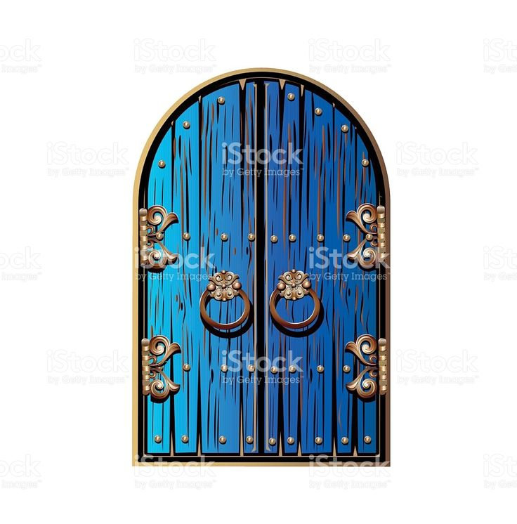 wooden door with a gold ornament royalty-free stock vector art