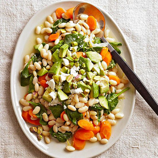 Fresh carrots, avocado, and spinach add delicious nutrients to your salad.
