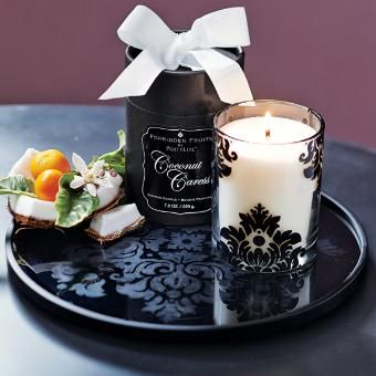 "Elegant glass black vanity tray features the signature Forbidden damask motif and reflects candlelight for a romantic effect. Metal frame and feet. Hang or use tabletop. 10""dia."