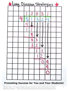 FREE Long Division Activity: Graph paper is an essential strategy for teaching beginning long division to students. https://www.teacherspayteachers.com/Product/Free-Long-Division-Graph-Paper-2068542