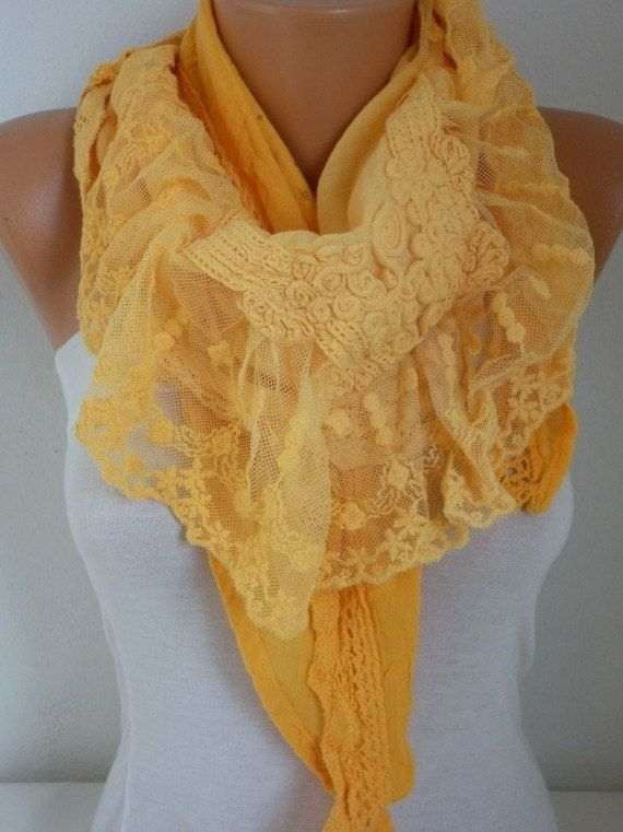 New Year's Fashion Yellow Ombre Scarf Valentine's Day by fatwoman