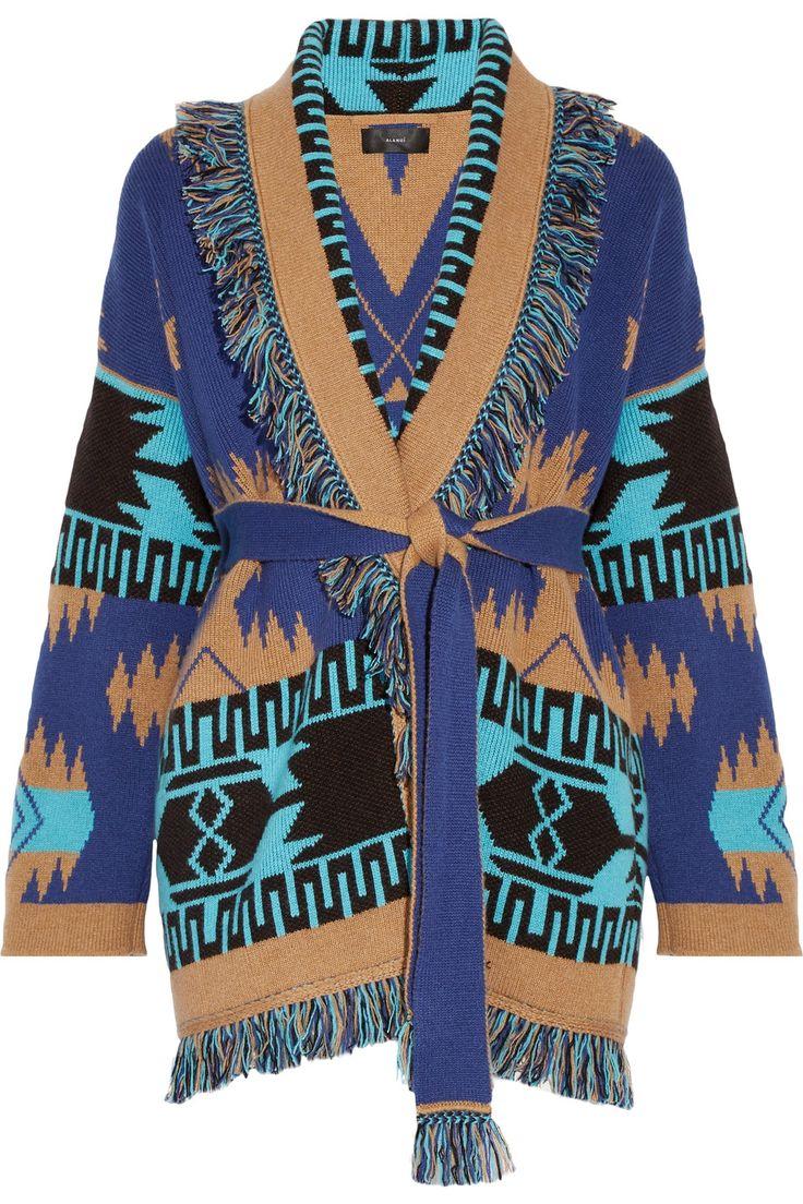Alanui   Fringed jacquard-knit cashmere cardigan   NET-A-PORTER.COM