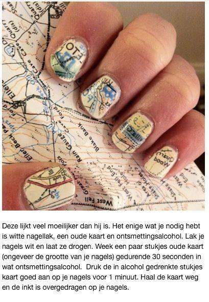 Een oude kaart overbrengen naar je nagels