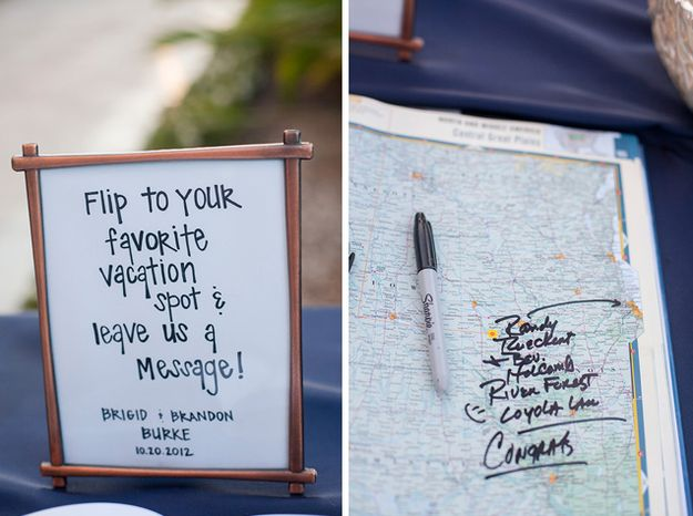 Atlas as guest book - give suggestions for the honeymoon: | 27 Creative Ideas For A Travel-Themed Wedding