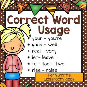Fern Smith's Classroom Ideas Fall Correct Word Usage - Set Two - Task Cards, Definition Posters, Recording Sheets and Answer Keys Perfect for Back to School and Autumn Scoot, Centers and Homework at TeacherspayTeachers.