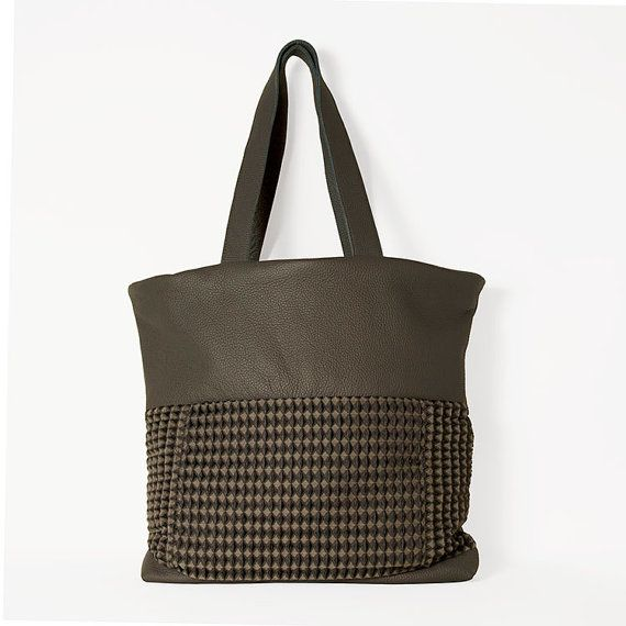 #Tote. #fabric. #Leather_bag. Large city leather by ElenaVandelliBags