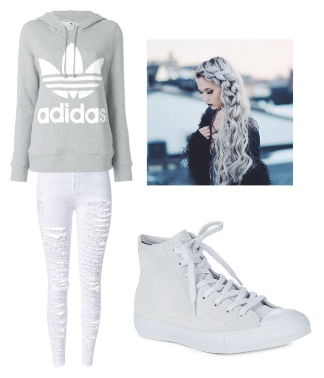 """""""Outfit for school"""" by movetotherythem on Polyvore featuring WithChic, adidas and Converse"""